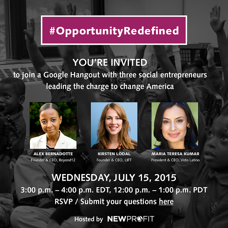 #OpportunityRedefined: Stay Tuned for Live Video of our 7/15 Google Hangout on Problem Solving, Diversity, and Inclusion