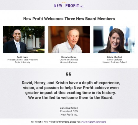 Three Visionary Leaders Join New Profit's Board of Directors