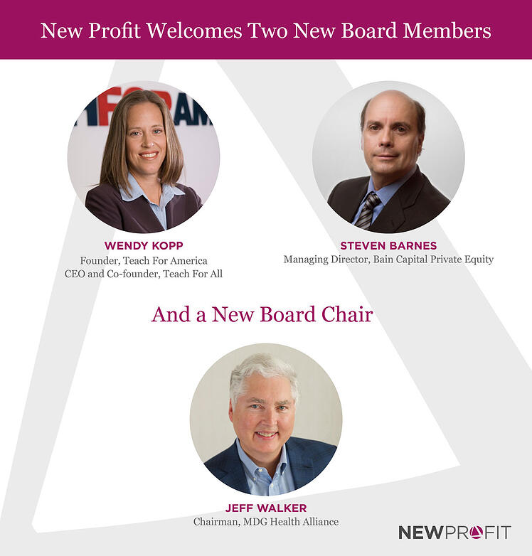 TFA Founder Kopp and Bain Capital's Barnes join New Profit's Board; Walker Becomes Chairman