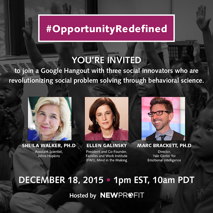 #OpportunityRedefined: Stay Tuned for Live Video of our 12/18 Google Hangout on Behavioral Science