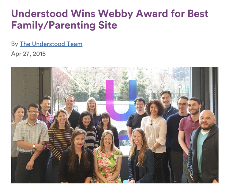 Reimagine Learning Fund: Understood.org Wins a Webby Award!